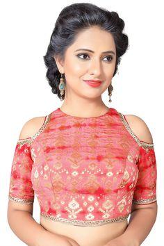 Red Brocade Resham Embroidered Designer Banarasi Blouse-BL1826