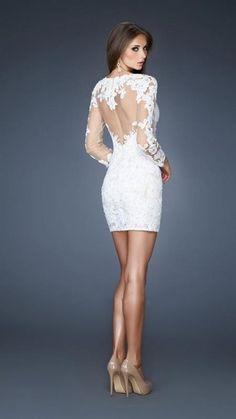 Lace Long Sleeve Short White Formal Dresses