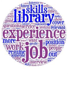 Word cloud about what hiring librarians are looking for - from hiringlibrarians.com
