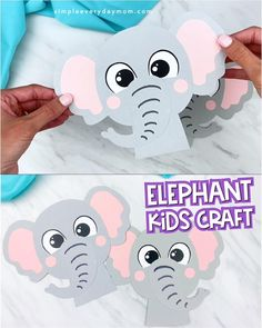 Make this cute and easy elephant craft with our free printable template. It's a great idea for preschool and kindergarten children! Mothers Day Crafts For Kids, Fathers Day Crafts, Paper Crafts For Kids, Crafts For Kids To Make, Animal Crafts For Kids, Toddler Crafts, Preschool Activities, Preschool Elephant Crafts, Paper Animals