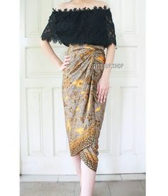 Sabrina lace top and kain lilit 😍 Kebaya Lace, Batik Kebaya, Kebaya Dress, Model Dress Batik, Batik Dress, Kebaya Sabrina, Sabrina Dress, Mode Batik, Kebaya Modern Dress