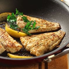 Cumin-crusted Fish Fillet With Lemon With Ground Cumin, Thyme, Paprika, Lemon Pepper, Whitefish Fillets, Canola Oil, Chopped Parsley, Lemon Wedges