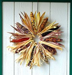 From wreaths to lawn signs and more, these are the fall-inspired decorations your yard needs Indian Corn Wreath, Corn Husk Wreath, Fall Door, Fall Wreaths, Thanksgiving Wreaths, Fall Halloween, Wreath Crafts, Wreath Ideas, Corn On Cob