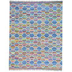 1800getarug color Colorful Flatweave Kilim and Sari Silk Handwoven Rug