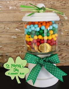 Terra cotta pot and jar - rainbow candies with gold coins for the pot of gold at the end of the rainbow!