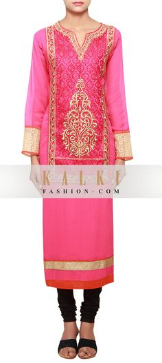 Buy Online from the link below. We ship worldwide (Free Shipping over US$100) http://www.kalkifashion.com/fuschia-a-line-long-kurti-in-georgette-embellished-in-resham-and-zari-only-on-kalki.html