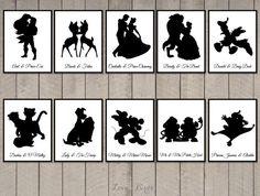 Sagoma di Disney coppia carte carte sul tavolo di SophiesLoveBirds