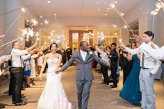 Loving the sparkler sendoffs! | Charlotte wedding, Charlotte wedding vendors, NC wedding, NC wedding vendors, wedding dress, sendoff | Photography @justadreamphoto Videography @AfterglowRVA Cake @CelestialCakery Beauty @DanaRaiaBridal