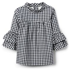 Online Exclusives Navy Gingham Gingham Ruffle Top by Janie and Jack New Fashion Clothes, Kids Fashion, Baby Dress Design, Little Girl Dresses, Ruffle Top, Shirts For Girls, Blouse Designs, Gingham, Kids Outfits