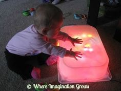 Light Table Made Easy! Our DIY Light Table! | Where Imagination Grows - Big White Tub bin & WHITE Christmas lights