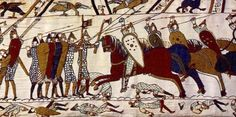 Cavalry attack, Bayeux Tapestry. Romanesque Europe (English or Norman). c. 1066–1080 C.E. Embroidery on linen.