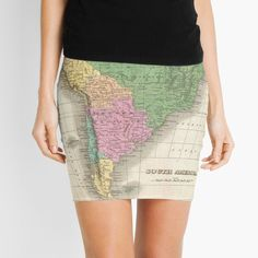 'vintage Map of South America' Mini Skirt by ModernFaces, Map Design, Sell Your Art, South America, City Photo, Mini Skirts, Ballet Skirt, Fabric, Pencil, Vintage