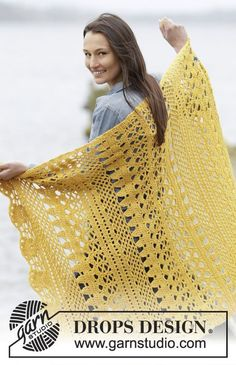 "Winter Sun - Crochet DROPS blanket with lace pattern in ""Nepal"". - Free pattern by DROPS Design Motifs Afghans, Afghan Crochet Patterns, Crochet Stitches, Knitting Patterns, Scarf Patterns, Drops Patterns, Knitting Tutorials, Crochet Scarves, Crochet Shawl"