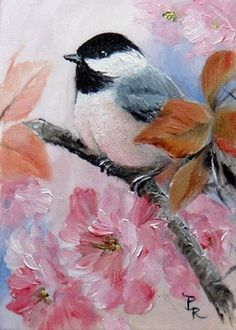 Art: Plum Blossoms by Artist Paulie Rollins Watercolor Bird, Watercolor Animals, Bird Illustration, Bird Drawings, Bird Pictures, Art Portfolio, Bird Art, Beautiful Birds, Painting Inspiration