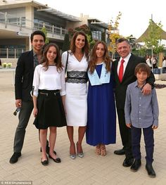 Iman on her high school graduation day with (left to right) her brother Crown Prince Hussein, sister Princess Salma, mother Queen Rania, father King Abdullah