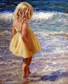 This is an original oil on canvas art painting by American Artist Marie Witte, named 'Yellow Sundress' (completed in Fine art prints of the original painting are available for purchase. Paintings I Love, Beautiful Paintings, Illustrations, Illustration Art, Beach Art, Love Art, Painting Inspiration, Amazing Art, Watercolor Paintings