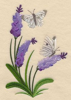 Lavender and Butterfly Spray design (L3549) from www.Emblibrary.com