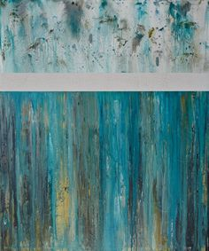 Large Modern Wall Art 48x40 Teal and White Abstract by CMFA