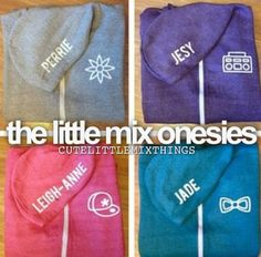 little mix onesies :O WHERE DO I GET THESE? I think that jesys colour shud be jades cause hers is purple? Little Mix Merchandise, Girly Things, Things I Want, Little Muffins, Madison Style, Jesy Nelson, Perrie Edwards, Girl Bands, Mixers