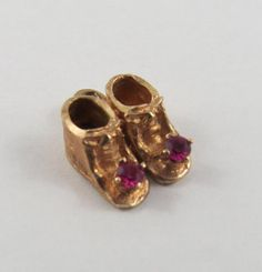 Baby Booties With Pink Stones 10K Gold Vintage by SilverHillz