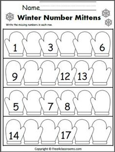 Winter Number Writing Worksheet - Write the missing numbers Kindergarten Worksheets, Kindergarten Classroom, Teaching Math, Math Activities, Preschool Activities, Winter Activities, Preschool Winter, Early Math, Petite Section