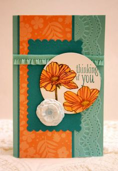 Stampin' Up! Peaceful Petals handmade thinking of you card