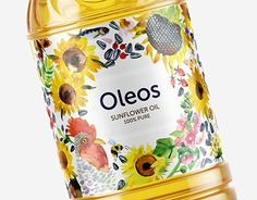Creative Agency: GLAD HEAD Project Type: Produced, Commercial Work Packaging Content: Cooking oil Location: Ukraine Label for & Food Packaging Design, Packaging Design Inspiration, Creativity And Innovation, Sunflower Oil, Cooking Oil, Creative Industries, Bottle Design, Food Design, Watercolor Illustration