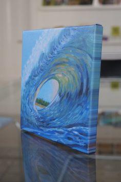 """Drucke auf Leinwand - SURFER/ HOCHZEITSREISE Leinwanddruck """"Blaue Welle"""" - ein Designerstück von LeinwandKacheln bei DaWanda"""