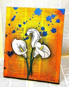 peinture sur toile en papier journal en jaune et bleu au motif calla blanc