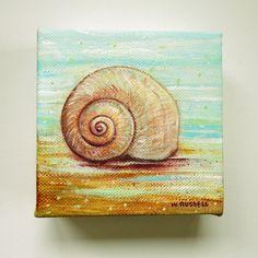 Seashell Painting, Seashell Art, Painted Shells, Mini Canvas Art, Small Paintings, Canvas Paintings, Nautical Art, Ocean Art, Beach Art
