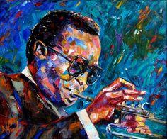 Miles Davis Portrait Oil Painting Art Jazz Painting Trumpet by Debra Hurd -- Debra Hurd