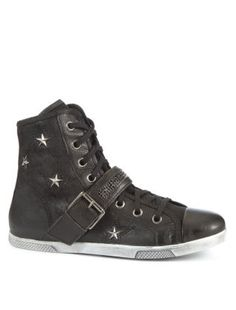 Black Leather-Look Star Studded Buckle Hi-Tops | New Look