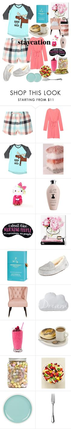 """""""Staycation - """"I Don't Like Morning People!"""""""" by mdfletch ❤ liked on Polyvore featuring Dorothy Perkins, Victoria's Secret, Lazy One, Urban Outfitters, Hello Kitty, Oliver Gal Artist Co., Aromatherapy Associates, UGG, Nate Berkus and Ercuis"""