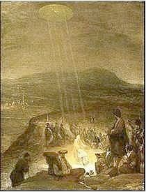 """UFOs in History and Art - This is the painting titled """"The Baptism of Christ"""" painted in 1710 by Aert De Gelder"""