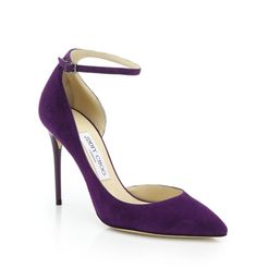 Jimmy Choo | Lucy 100 Suede Ankle-Strap Pumps | SAKS OFF 5th