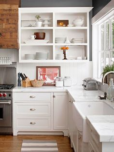 open shelving on upper cabinets bhg love everything! Purple Kitchen Interior Design In Classic Kitchen, All White Kitchen, Narrow Kitchen, Country Kitchen, Easy Kitchen Updates, Updated Kitchen, Kitchen Redo, New Kitchen, Kitchen Shelves