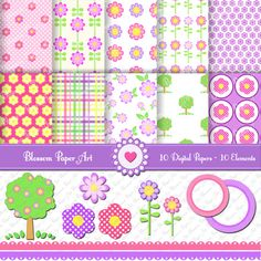 Flowers Clipart  Digital Scrapbooking Paper  by blossompaperart, $3.99