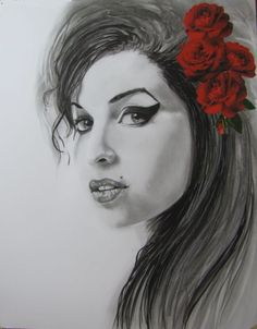 """ARTFINDER: """" Amy Winehouse with roses"""" by Raffaella Bertolini - Another homage to one of my favourite artists, Amy Winehouse . Pencil, charcoal , ink and roses collage  on Bristol paper, 270gsm, 50x60cm."""