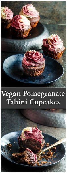 Vegan Pomegranate Tahini Cupcakes