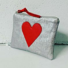 Red heart appliqued silver oilcloth coin purse zipper pouch