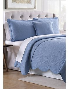 Modern. Southern. Home.™ Scalloped Tiles Quilt | belk White Coverlet, Coverlet Bedding, Duck Egg Blue Bedroom, Scallop Tiles, Yellow Quilts, Queen Comforter Sets, Queen Quilt, New Home Designs, Quilt Sets