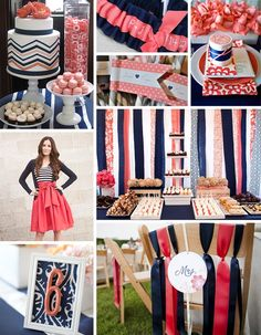 coral and navy - love the blue and white striped tank with coral skirt