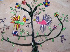Mexican art - art lesson for children inspired by Mexican bark paintings.