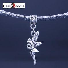 CasaPandora Silver Plated Flower Fairy Flower Angel Elfin elf Shape Pendant Fit Bracelet Charm DIY Bead Making Pingente Berloque