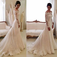 White Off-the-shoulder Lace Long Sleeve Bridal Gowns Cheap Simple Custom Made Wedding Dress sold by LovePromDresses. Shop more products from LovePromDresses on Storenvy, the home of independent small businesses all over the world.