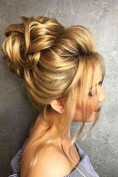Awesome 18 Gorgeous Wedding Bun Hairstyles We created a list of wedding bun hairstyles, where you can find the variant for your satisfaction.weddingforwar… The post 18 Gorgeous Wedding Bun Hairstyles ❤ We created a list of wedding b . Wedding Bun Hairstyles, Messy Bun Hairstyles, Chignon Wedding, Flower Hairstyles, High Updo Wedding, Bridal Hair Updo High, Trendy Hairstyles, Wedding Braids, Bridal Updo