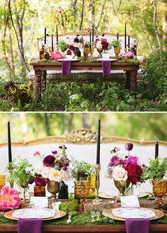 Amazing color palette. enchanted vintage forest wedding table ideas