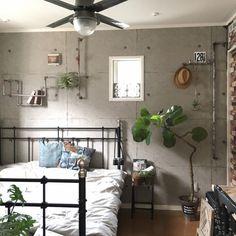 rkmamaさんの、ベッド周り,DIY,ニトリ,フェイクグリーン,いなざうるす屋さん,男前,塩ビパイプ,のお部屋写真