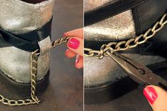 DIY: Rock your shoes! argent, artlex, blogueuse, boots, chaine, chaussures, cuir, customisation, customiser ses chaussures, diy, DIYblogger, Do it yourself, fashion, fashionblogger, glitter, lyon, lyonnaise, mode, noir, pailleté, paillettes, peinture pour cuir, rock, shoes, styliste