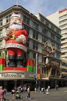 Queen St, Auckland, New Zealand. There is an amazing Christmas parade every year here. Loved it.
